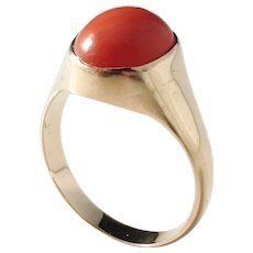 Modernist 18k Gold Coral Ring. Scandinavia 1970s.