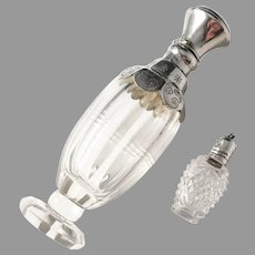 Two Silver Top and Glass Early 1900s Perfume Bottles. Hallmarked.