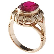 Warsaw, Poland year 1920-63, 14k Gold Synthetic Ruby Ring. Maker's Mark