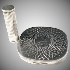Denmark 1940s Solid Silver Compact and Lipstick Holder. Hugo Grun and A Michelsen.
