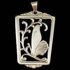 Hugo Grun, Denmark Art Nouveau 1920s Solid Silver Butterfly Pendant.