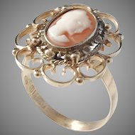 Antique Edwardian Silver Cameo Face, 18k Gold Band from 1979, by Bengt Hallberg.
