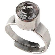 ALTON, Sweden year 1974 Modernist Sterling Silver Rock Crystal Ring.