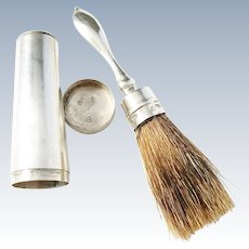 Erik Linderoth, Sweden year 1853 early Victorian Solid Silver Shaving  Brush and Case. Rare.