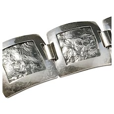 South East Asia Solid Silver Organic Motif Panel Bracelet. 1.4oz. c 1950s