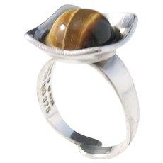 KE Palmberg for ALTON, Sweden year 1973 Modernist Sterling Silver Tiger Eye Ring. Signed.