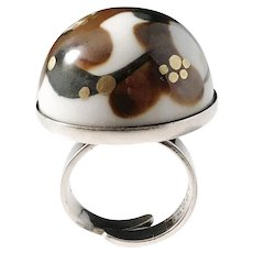 Anne Marie Odegaard for Porsgrund Norway Vintage Sterling Silver Porcelain Enamel Ring