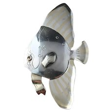 Michelsen, Stockholm Mid Century year 1947 Large Solid Silver Fish Brooch.