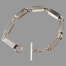 Arne Johansen, Denmark Sterling Silver 1960s Bar Link Bracelet.