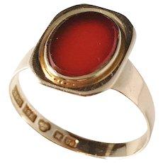 G Dahlgren, Sweden year 1898, Victorian 18k Gold Carnelian Ring