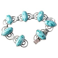 Lundqvist, Sweden year 1948 Mid Centruy Solid Silver Turquoise Bracelet