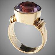 Maker Kjernås year 1926-39, Art Deco 20k Gold Amethyst Ring. 8.1gram