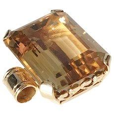 Theresia Hvorslev Sweden Vintage 18k Gold Citrine Pendant. Signed.