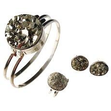 Stenlya, Stockholm Modernist Sterling Silver Pyrite Set. Bangle, Ring, and Stud Earrings.