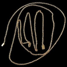 "Anders Wessman, Sweden year 1839 - 1867 early Victorian 18k Gold Necklace. 52"" Long."