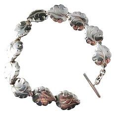 Hugo Grun, Denmark Mid Century Sterling Silver Organic Leaf Bracelet.