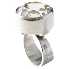 Hansen, Stockholm year 1965 Solid Silver Rock Crystal Modernist Ring.