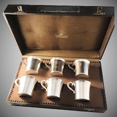Royal Goldsmith CG Hallberg Stockholm year 1938 Boxed Art Deco Solid Silver Whiskey Vodka Beakers