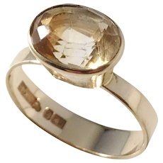 Kaplan, Stockholm year 1966, Modernist 18k Gold Citrine Ring.