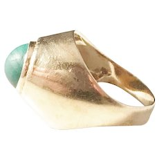 G Dahlgren, Sweden year 1952 Mid Century Modern 18k Gold Malachite Ring.