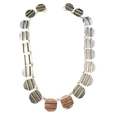 A. Ring, Copenhagen 1960s, Modernist Sterling Silver Necklace. 2.8oz