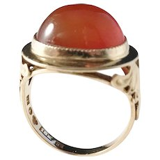 Johan Pettersson, Stockholm year 1952 Mid Century 18k Gold Carnelian Ring.