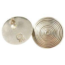 Vintage Taxco Mexico, Maker MR Large Sterling Silver Stud Modernist Earrings.