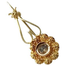 Anders Magnus Ekeblad, Sweden year 1878-82, Victorian, 18k Gold Foiled Back Paste Stone Small Heart Flower Brooch.
