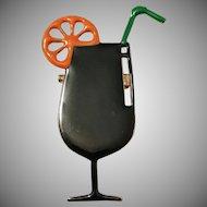 Novelty Art Deco 1930s Yellow Metal Enamel Cocktail Long Drink Brooch.