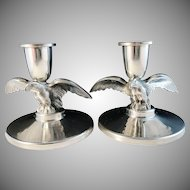 Ceson, Sweden year 1934 Art Deco Eagle Pewter Pair of Candlesticks