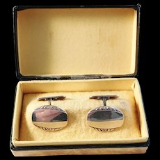 G Dahlgren, Sweden year 1955 Mid Century Solid Silver Cufflinks in original Retailer Box.