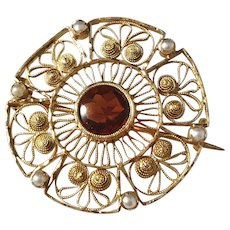Kristensen, Sweden year 1904 Edwardian 18k Gold Garnet Brooch. Excellent.
