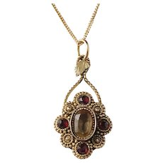 Peder Schrøder, Bergen Norway year 1833 Antique 18k Gold Paste Stone and Garnet Small Pendant.