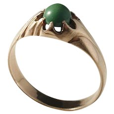Mid Century 18k Gold Green Turquoise Ring.