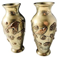 Pair of Antique Meiji Japanese Mixed Metal Vases. c 1900.