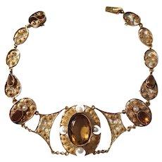 Johan Pettersson, Stockholm year 1905, Edwardian 18k Gold Citrine Pearl Bracelet