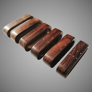 6 Numbered Danish Mid Century Modern 1950s Teak Napkin Rings.