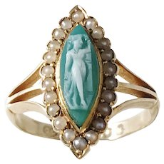 Charles Chesterman II, London year 1822 Georgian 18k Gold Agate Cameo Seed Pearl Ring.