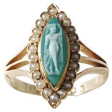 Charles Chesterman II, London year 1822 Georgian 18k Gold Agate Cameo Seed Pearl Ring.