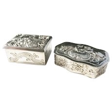 Two Antique Early 1900s Sold Silver Trinket Boxes. Germany w Swedish Import Marks.