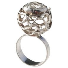 Austria 1960s Modernist Solid Silver Rock Crystal Ring.