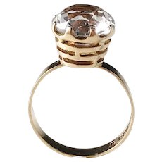Bengt Hallberg, Sweden year 1969 Modernist 18k Gold Rock Crystal Ring.