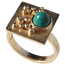 Unique Ateljé Candra, Gson Liedholm Sweden year 1968. Modernist 18k Gold Turquoise Ring. Signed.