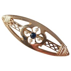 Art Deco 14k Rose Gold Sapphire and Seed Pearl Pin Brooch. 1930s.