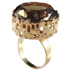 Bengt Hallberg, Sweden year 1973 Bold Massive 18k Gold Smoky Quartz Modernist Ring. Excellent. 13.2gram