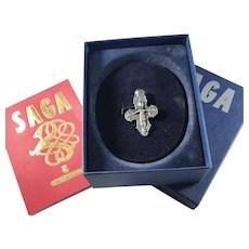 David Andersen 1960s Viking Saga Series Sterling Silver Pendant w Original Box and Book.