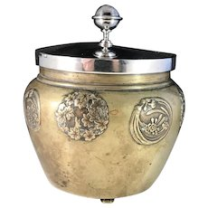 Japan Meiji 1868-1912 Mixed Metal Bronze Jar w Solid Silver Rim and Top by EV Mandahl Sweden year 1918. Unique