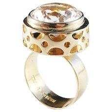 Hedberg, Sweden year 1972 Modernist 18k Gold Rock Crystal Ring. Excellent.