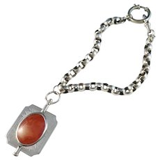 Anders Hjulström, Sweden year 1784-1816 Georgian Solid Silver Amber Watch Fob Key With Chain.