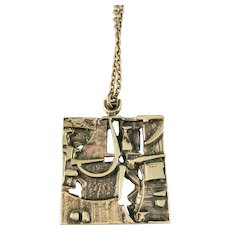Jorma Laine Finland 1960-70s Modernist Abstract Bronze Pendant Necklace.